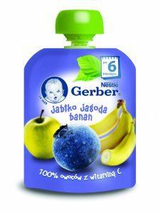Gerber_Owocowe tubki_Jabłka, jagoda, banan